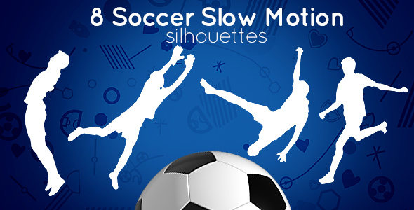 8 Slow Motion Soccer (Football) Silhouettes