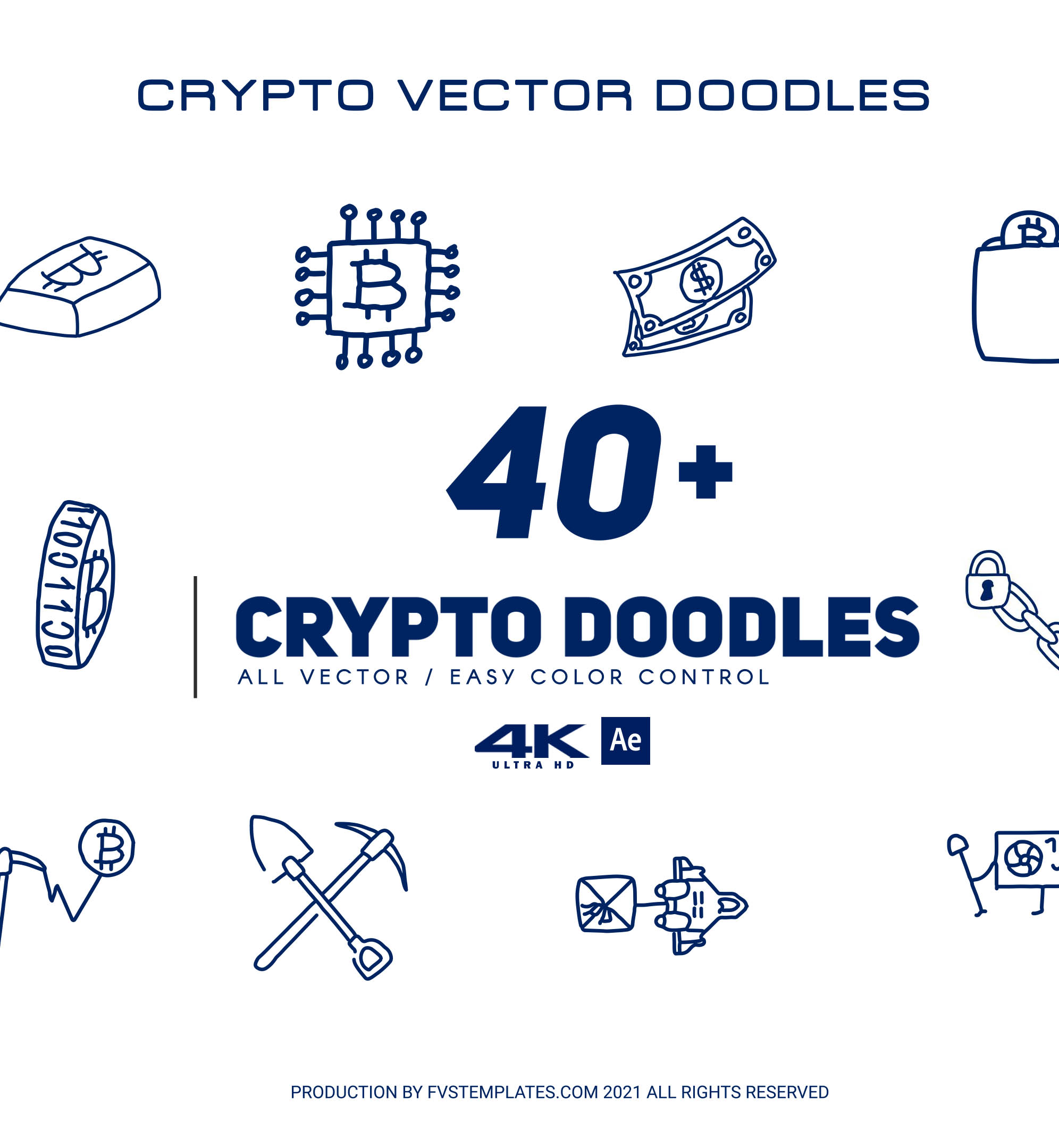 Crypto Vector Doodles Pack 40+ for After Effects