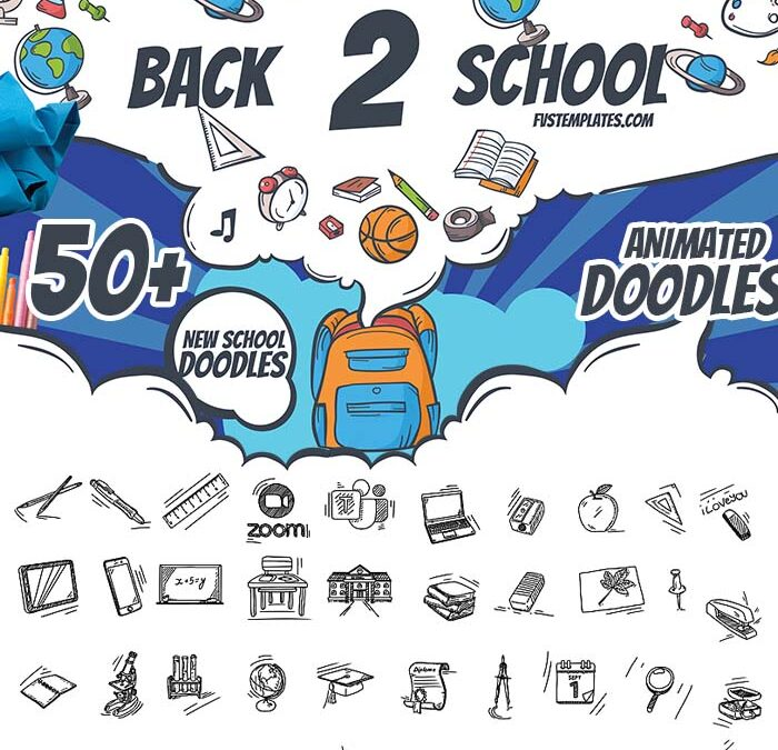 Back2School Vector Doodles Pack 50+ for After Effects&Premiere Pro