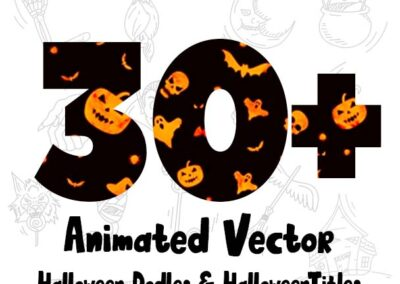 Halloween Animated Vector Doodles & Titles Pack 30+ for After Effects&Premiere Pro